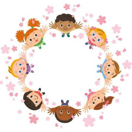 Cherry blossom petals and children