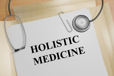 Foto de Render illustration of Holistic Medicine Title On Medical Documents - Imagen libre de derechos