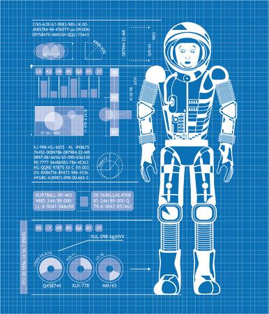 Foto de Blueprint of astronaut - Imagen libre de derechos