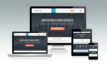 Illustrazione per Responsive website template with multiple devices - Immagini Royalty Free