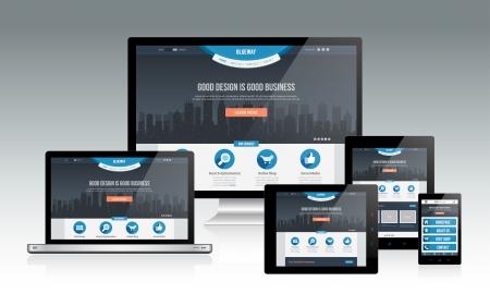 Illustrazione per Responsive Web Design Mockup - Immagini Royalty Free
