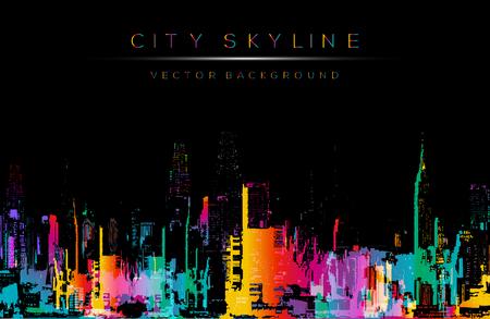 Illustration pour Grunge style  art, colorful city night skyline illustration. - image libre de droit