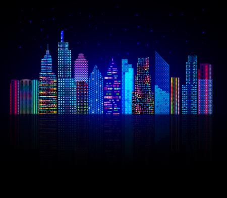 Ilustración de Colorful city panorama, cityscape background. - Imagen libre de derechos