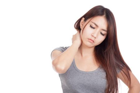 Foto de Young Asian woman got neck pain  isolated on white background - Imagen libre de derechos
