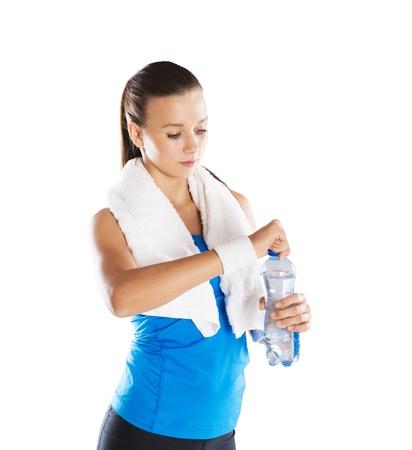 Foto de Studio fitness portrait isolated on white background - Imagen libre de derechos