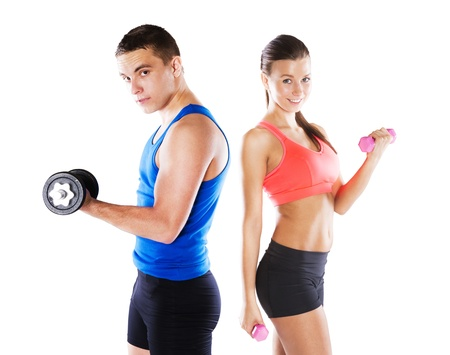 Photo for Athletic man and woman before fitness exercise - Royalty Free Image