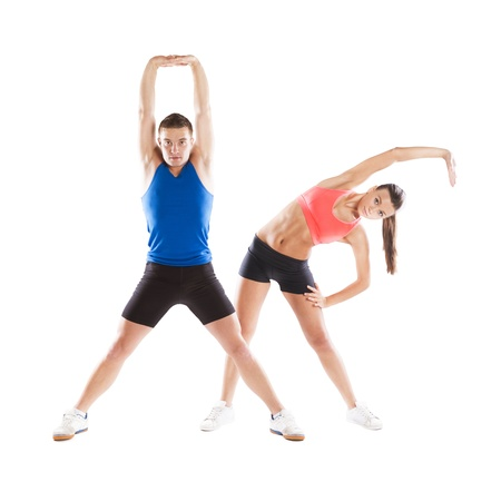 Athletic man and woman before fitness exercise