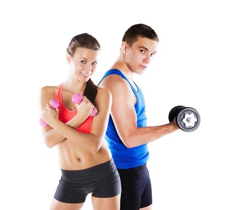 Photo pour Athletic man and woman before fitness exercise - image libre de droit