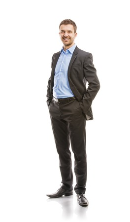 Photo pour Successful business man in suit is posing in studio isolated over white background  Full body portraits  - image libre de droit