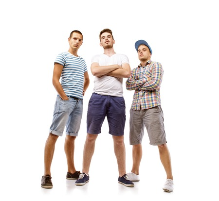Photo pour Group of young men isolated on white background  Best friends - image libre de droit