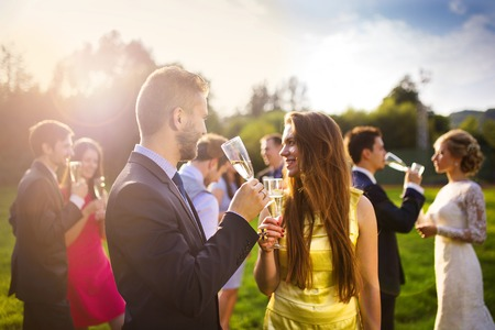 Foto de Wedding guests clinking glasses while the newlyweds drinking champagne in the background - Imagen libre de derechos