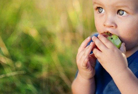 Foto de Cute little boy eating a red apple in green park - Imagen libre de derechos