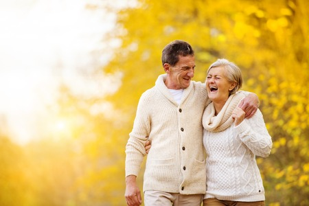 Photo pour Active seniors having fun and relax in nature - image libre de droit