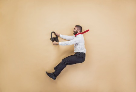 Photo pour Handsome manager has an accident. Funny pose in studio. - image libre de droit