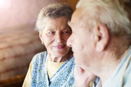 Photo pour Happy senior couple in love inside of their house - image libre de droit
