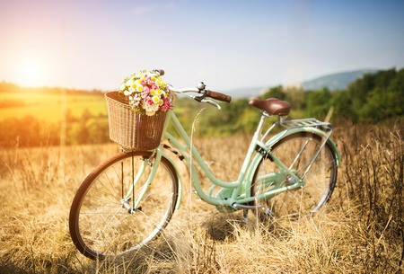 Photo for Vintage bicycle with basket full of flowers standing in the field - Royalty Free Image
