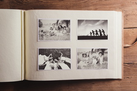 Photo for Fathers day composition - photo album with a black and white photo - Royalty Free Image