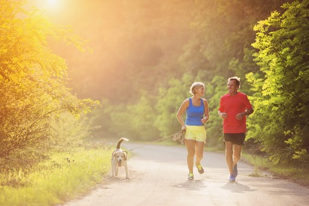 Foto de Active seniors running with their dog outside in green nature - Imagen libre de derechos