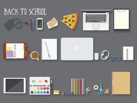 Photo for Back to school desktop composition. Vector illustration. - Royalty Free Image