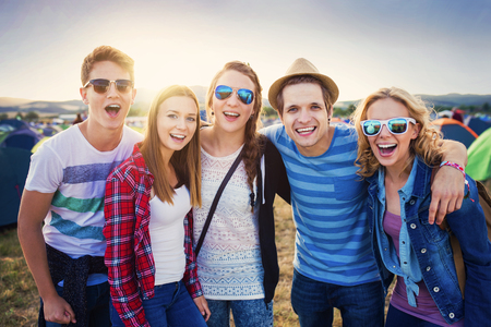 Photo for Group of beautiful teens at summer festival - Royalty Free Image