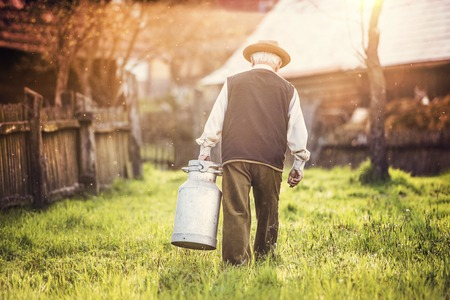 Foto für Senior man carrying a milk kettle on his farm - Lizenzfreies Bild