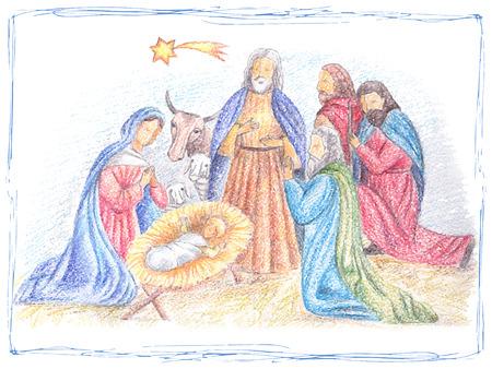 Ilustración de Hand drawn vector illustration with nativity scene. Baby jesus born in Bethlehem. - Imagen libre de derechos