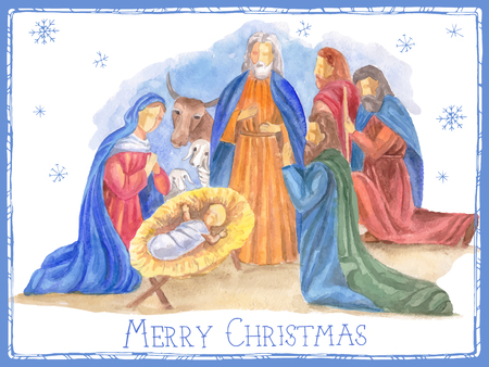 Illustration pour Hand drawn vector illustration with nativity scene. Baby jesus born in Bethlehem. - image libre de droit