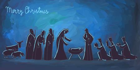 Ilustración de Vector illustration with nativity scene. Baby jesus born in Bethlehem. - Imagen libre de derechos