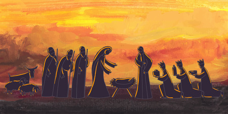 Illustration pour Vector illustration with nativity scene. Baby jesus born in Bethlehem. - image libre de droit