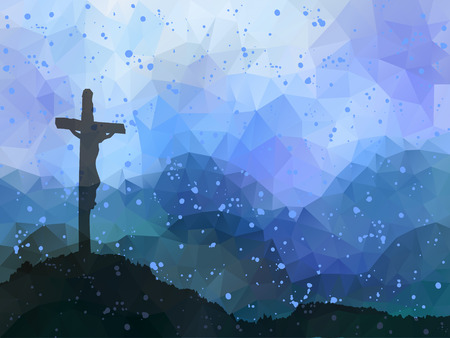 Illustration pour Watercolor vector illustration. Hand drawn Easter scene with cross. Jesus Christ. Crucifixion. - image libre de droit