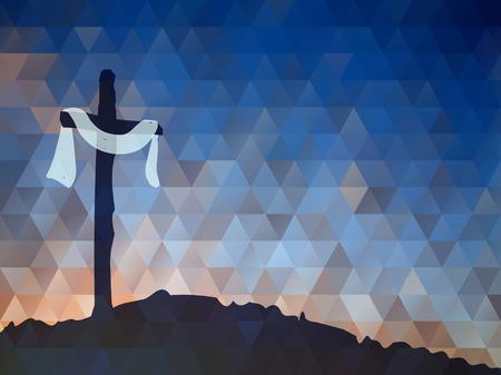 Illustration pour Watercolor vector illustration. Hand drawn Easter scene with cross. Jesus Christ. Crucifixion. - image libre de droit