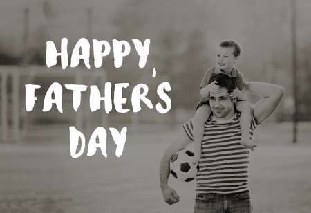 Photo for Father carrying son on his shoulders. Fathers day concept. - Royalty Free Image