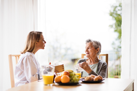 Photo pour Health visitor and a senior woman during home visit. - image libre de droit