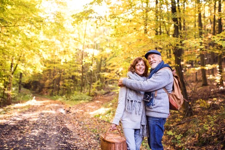 Photo for Senior couple on a walk in autumn forest. - Royalty Free Image