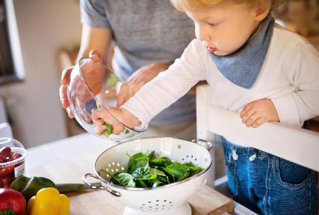 Photo pour Young father with a toddler boy cooking. - image libre de droit