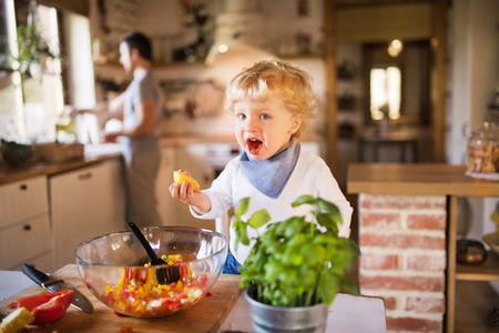 Photo for Young father with a toddler boy cooking. - Royalty Free Image