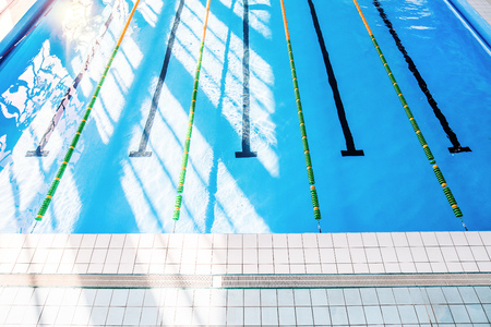 Photo for Lanes of an indoor public swimming pool. - Royalty Free Image