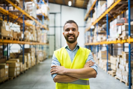Photo for Portrait of a male warehouse worker. - Royalty Free Image