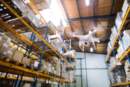 Foto de Drone flying inside the warehouse. - Imagen libre de derechos