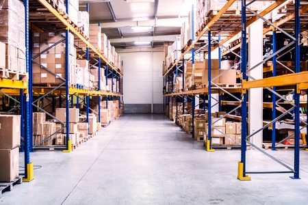 Foto per An interior of a warehouse. - Immagine Royalty Free