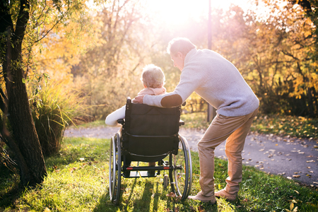 Photo for Senior man and woman in wheelchair in autumn nature. - Royalty Free Image