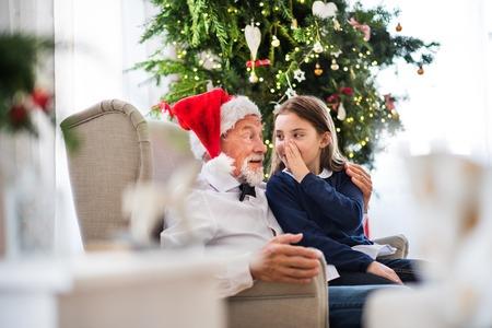 Foto de A small girl telling a secret to her grandfather with Santa hat at Christmas time. - Imagen libre de derechos