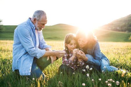 Photo pour Senior couple with granddaughter outside in spring nature at sunset. - image libre de droit