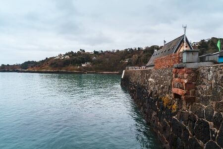 Photo for Rozel harbour wall, Jersey, Channel Islands, United Kingdom Europe - Royalty Free Image