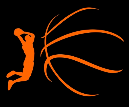 A silhouette of a basketball isolated against white background