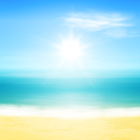 Illustration for Beach and tropical sea with bright sun. - Royalty Free Image