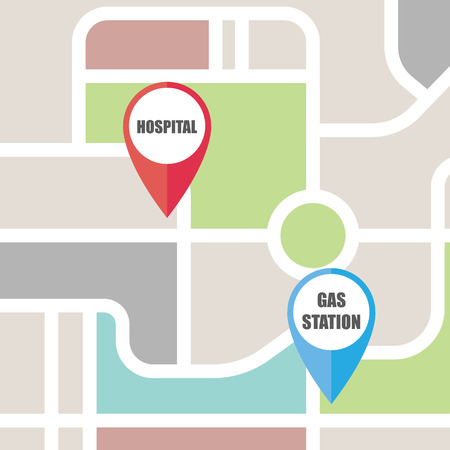 Ilustración de Road map direction with colorful pin pointer. vector illustration. - Imagen libre de derechos