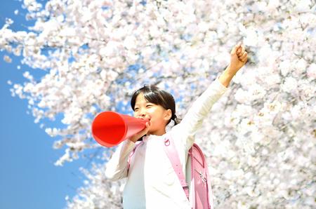 Girls cheer (megaphone, cherry, blue sky)