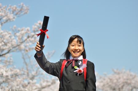 Japanese elementary school student (cherry blossom)