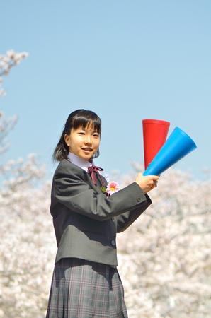 Japanese junior high school student (cherry, entrance ceremony)
